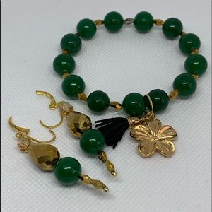 Green dress bracelet with matching earrings